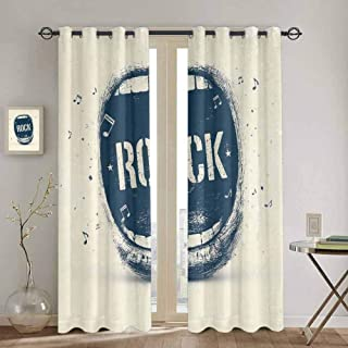 DONEECKL Rock Music Rustic Curtain Screaming Mouth Musical Elements Flying Notes Rock Music Abstract Pattern Soundproof Shade W42 x L90 Inch Beige Violet Blue