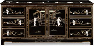 China Furniture Online Black Lacquer Sideboard, 72 Inches Hand Painted Landscape with Mother Pearl Inlay Courtly Ladies Motif Black Finish