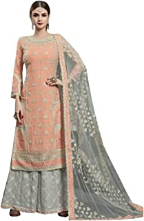 Peach And Grey Ready to wear Real georgette with heavy embroidery & handwork Straight Salwar Kameez Palazzo Suit Punjabi Muslim Dupatta 8612