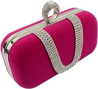 Ring Hand Bag Luxury u Diamond Velvet Evening Bag Bride Ring Hand Bag Bag,Rose red