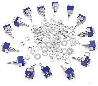 15 piezas 6 pines 3 posición Mini interruptor de palanca con 30 tornillos y 30 piezas arandelas, 125 V 6 A ON-OFF-ON interruptor de palanca con bate de metal