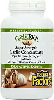 GarlicRich by Natural Factors, Super Strength Garlic Concentrate, Supports a Healthy Immune and Cardiovascular System, 180...