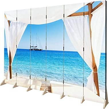APED DECOR Wood Screen Room Divider View of The Beautiful Beach Through a Balinese Bed Folding Screen Canvas Privacy Partitio