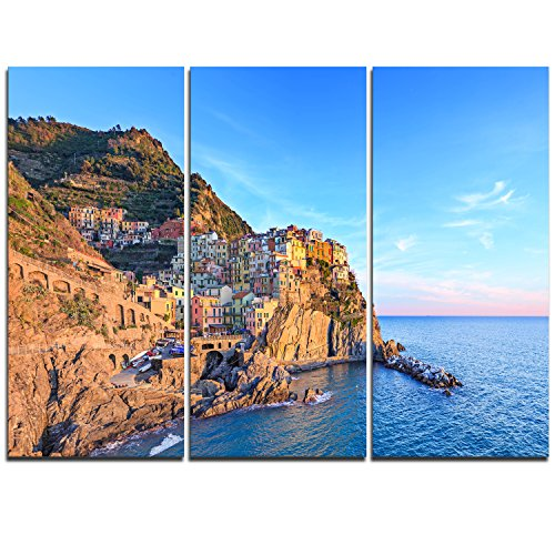 Designart Manarola Village Cinque Terre Italy-Extra Large Seashore Canvas Art-36x28in-Multipanel 3 Piece, 36x28-3 Panels, Blue