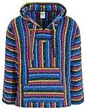 Sudadera con capucha mexicana Baja Jerga Hippie Festival Top en Blue Candy Stripe
