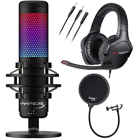 HyperX QuadCast S RGB USB Condenser Gaming Microphone with Golink Gaming Headset and Knox Gear Pop Filter 3 Items