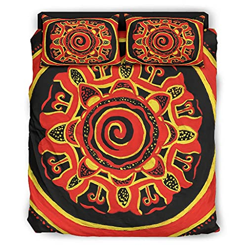 STELULI Juego de cama de 4 piezas, diseño antiguo inda maya, transpirable, funda de cama, 228 x 264 cm, color blanco