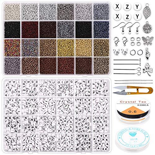 Kit de joyería para pulseras, cuentas de cristal 12/0 de 2 mm y cuentas de letras del alfabeto con abalorios de joyería, cuerda para pulseras de la amistad, collares, adornos...