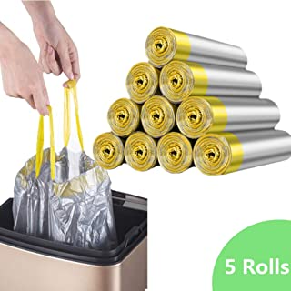 Drawstring Garbage Bags, Thick Durable Leak-proof Trash Bags, 3-5 Gallon Strong Rubbish Bags Wastebasket Liners for Home Waste Bin 75 Counts/5 Rolls (Silver)