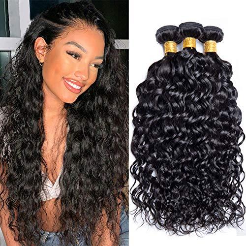 9A BrazilianWater WaveBundles (16 18 20 Inch) Wet and Wavy Human Hair Bundles 100% Virgin Remy Curly Weave Hair Human Bundles