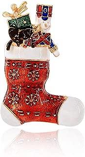 WLLAY Christmas Enamel Snowflake Socks Bear Soldier Boots Broach Pins New Year Gift Jewelry