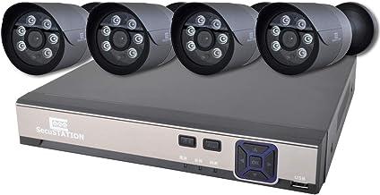 SecuSTATION 防犯カメラ 4台セット 黒 PoE給電 日本メーカー 354万画素 屋外 防塵防水 スマホ対応 監視カメラ ネットワークカメラ マイク内蔵 高耐久 skyhawkHDD NVR4ch 1TB内蔵 SC-XP45K