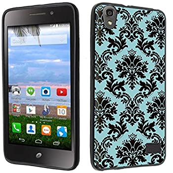 Case - [Teal Damask] Black  PaletteShield TM  Flexible TPU Gel Skin Cell Phone Cover Soft Slim Guard Protective Shell  Compatible for Huawei Pronto LTE H891L