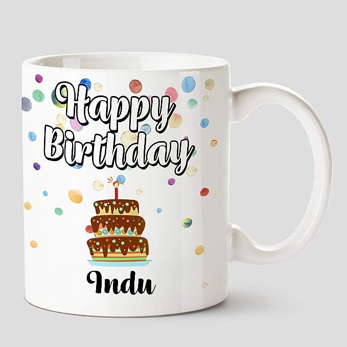 Huppme Happy Birthday Indu Name Ceramic