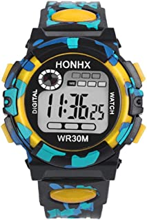 Kids Child Boy Girl Watches Multifunctional Waterproof Sports Electronic Watches by Rakkiss