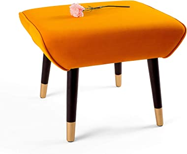 Adeco Ottoman Stool Seat - Modern Simple Nordic -17 Inches Height (Orange)