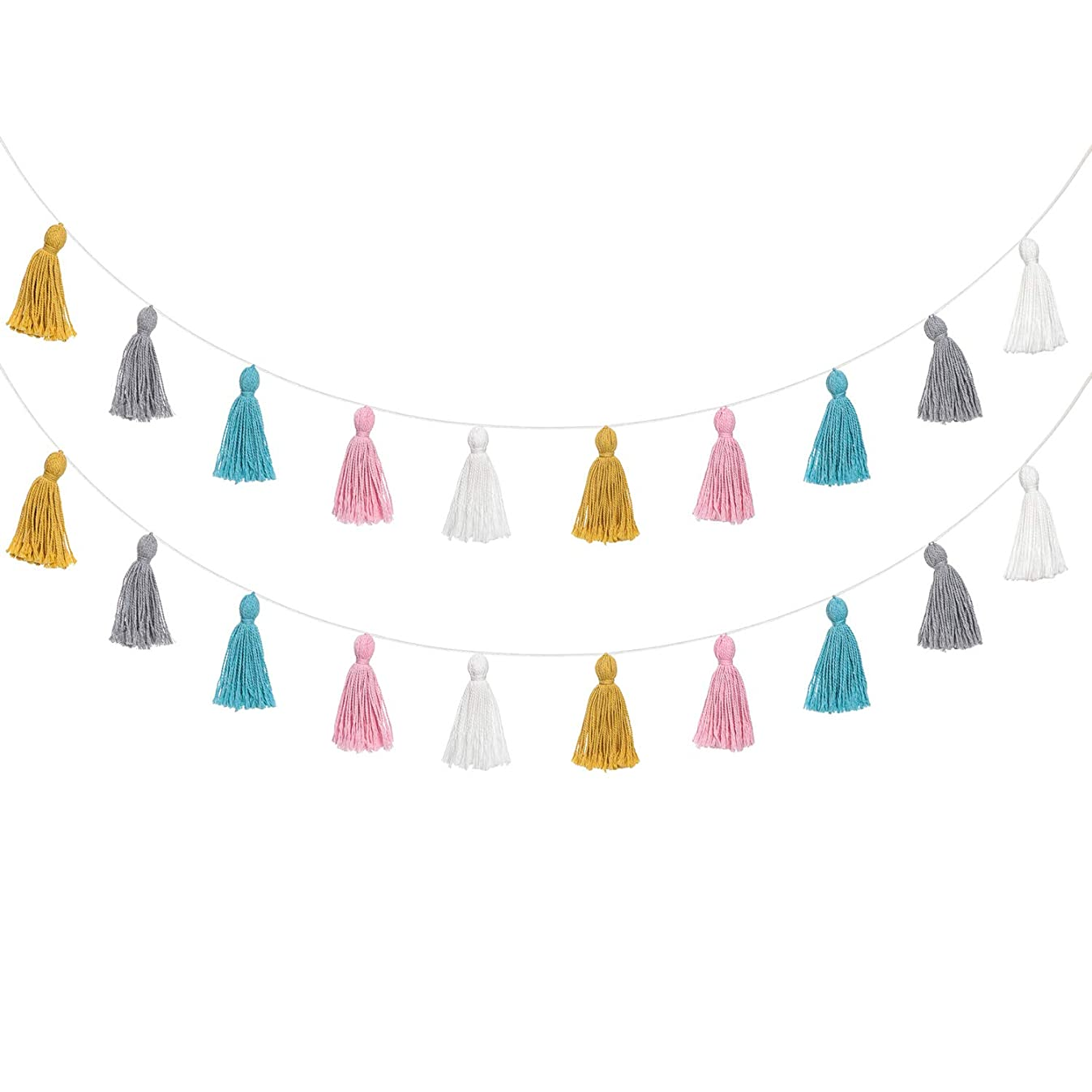 Mkono 2 Pack Cotton Tassel Garland Colored Tassels Banner Decorative Wall Hangings for Boho Home Decor, Birthday Mother Day Party, Baby Shower, Nursey Room