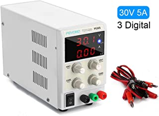 Pevono Best DC Bench Power Supply, PS305 30V/5A 3 Digital LED Desktop Switching Variable Power Supply Voltage&Current Regulated Supply Power Source for Lab Repair,Electronic Tester, Power Calculator