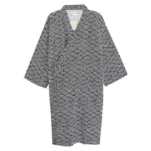 Unisxe Peignoir de Bain Kimono Japonais en Pur Coton Double Femme Homme Chemise de Nuit Lâche Ruban Poncho Plage Piscine Vêtement de Sauna Hydrothérapie Combinaison de Robe,Noir(vagues),L