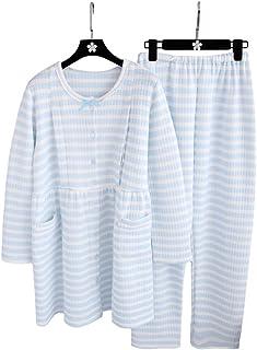 Royanney パジャマ レディース ルームウェア マタニティ 綿 オーガニック コットン100 長袖 冬 前開き 出産パジャマ 産後パジャマ 寝間着 上下セット あったか 長い丈