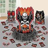 amscan Rock On Heavy Metal Themed Skulls & Crossbone Table Decoration (23 Piece), Multi Color, 13.7 x 11.5
