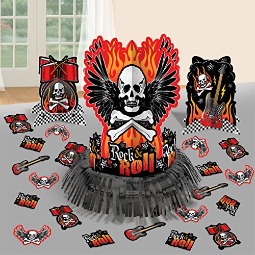amscan Rock On Heavy Metal Themed Skulls & Crossbone Table Decoration (23 Piece), Multi Color, 13.7 x 11.5