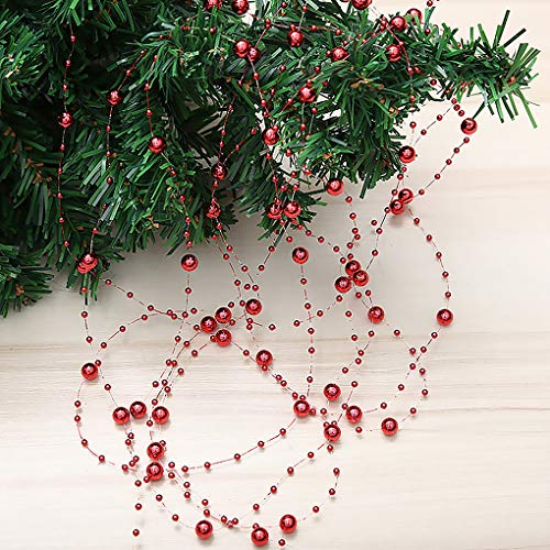 Yihaifu Christmas Tree Beads Garland Plastic Pearl String Strands Chain for Xmas Decoration DIY Craft Accessories