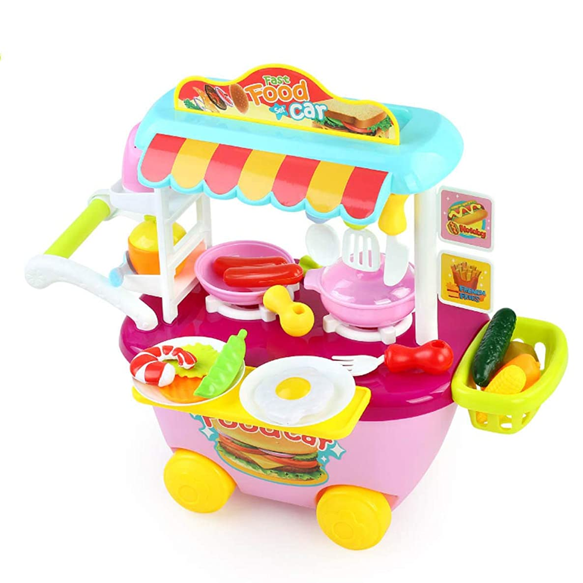 Wotryit Bhildren's Kitchen Play Educational Toys Food Toys,Made of Environmentally Friendly Plastic, Harmless to Children Pink