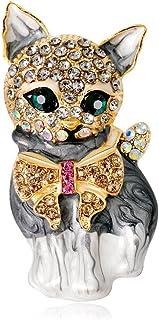Fliyeong - Elegante Spilla a Forma di Gatto, in Lega, con Diamanti Sintetici, da Sposa e da Donna