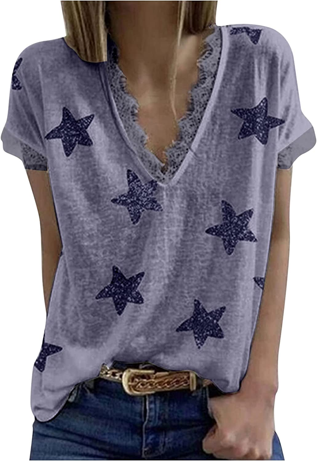 Women's Directly managed store Summer Tops T-Shirts Lace Print Shirts Patchwork Don't miss the campaign Cu Star