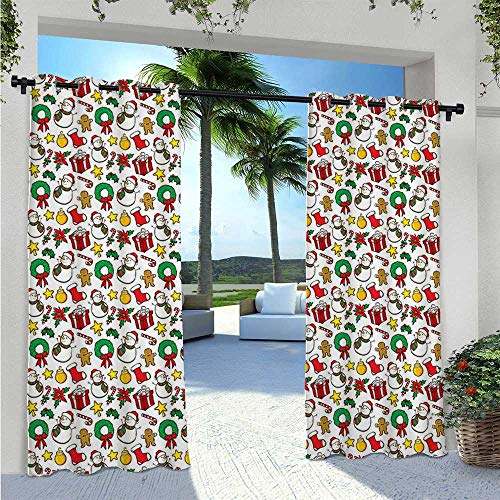 Adorise Blackout Curtains Festive Celebration of Xmas Garland Candy Cane Snowman Mistletoe Tree Ornaments Waterproof Indoor/Outdoor Curtains Perfect in All Seasons Multicolor W72 x L96 Inch
