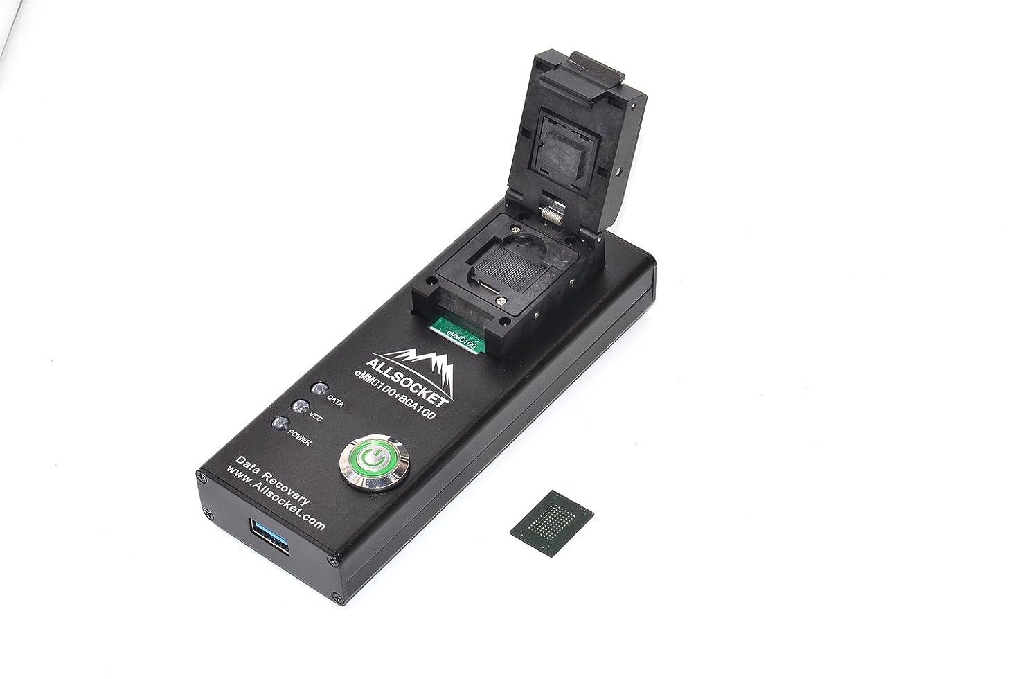 eMMC100 Adapter USB Reader, ALLSOCKET eMMC100-USB3.0 Reader Memory Nand Flash Adapter BGA100 Programmer Tester [12x18mm, 14x18mm IC]-(BGA100-USB3.0 Reader)