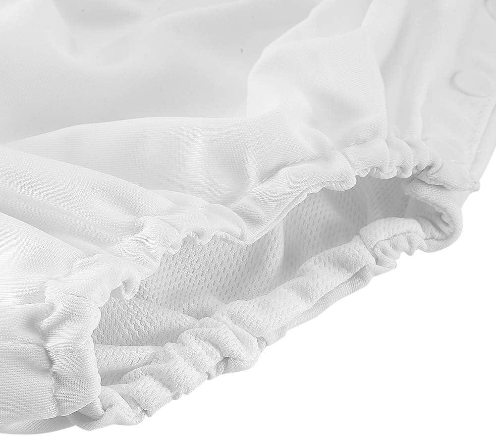 80-White Baby Reusable Swim Diaper Adjustable Washable Snap Swimsuit Diaper for Infant Girls Boys