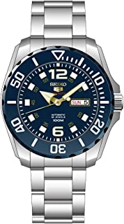 Seiko Men's Seiko 5 43.5mm Steel Bracelet & Case Hardlex Crystal Automatic Blue Dial Analog Watch SRPB37K1
