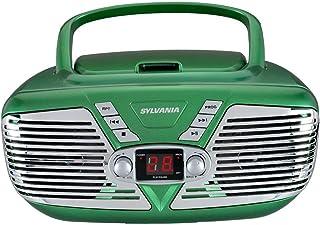 Sylvania Portable CD Boombox with AM/FM Radio, Retro Style, (Green) (SRCD211-GREEN) (Renewed)