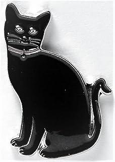 Metallo smaltato Pin Badge Feline gatto nero