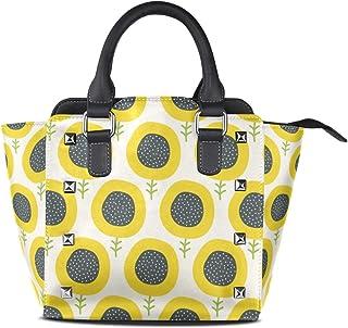 Simple Abstract Sunflower Women's Genuine Leather Handbag Rivet Shoulder Satchel Tote Bag Crossbody Bags