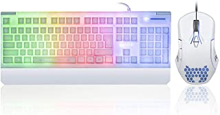 White Gaming Keyboard and Mouse Combo Colorful Lights Rainbow LED Backlit Keyboard with Ergonomic Detachable Wrist Rest, P...