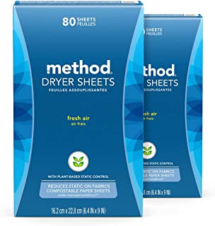 Method Dryer Sheets, Fresh Air, 80 Sheets, 2 pack, Packaging May Vary