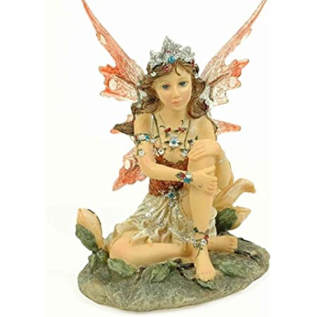 CAPRILO Figura Decorativa Fantasía de Resina Hada Sentada Naranja. Adornos y Esculturas. Decoración Hogar. Regalos Originales. 11 x 9 x 12 cm. IB 3