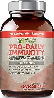 Vitamin Bounty - Immune Boosting Probiotics + Prebiotics - 10 Strains with Vitamin C and Zinc to Help Immune defenses Naturally