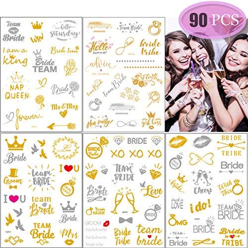 Despedida de Soltera Tatuajes,Novia y la Novia de Equipo Tatuajes Temporales Temporal Equipo Novia Tatuajes Despedida de Soltera Tatuajes Impermeable Falso Pegatinas Hen Do Night Accessories(5 hojas)