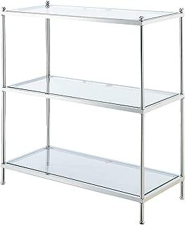 Convenience Concepts 134002 Royal Crest 3-Tier Bookcase, Clear Glass/Chrome Frame