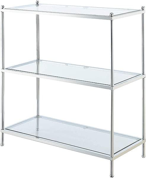Convenience Concepts 134002 Royal Crest 3 Tier Bookcase Clear Glass Chrome Frame