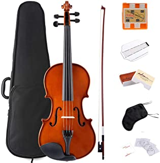 ADM Violin 1/2 Half Size Solidwood Ebony Pegs Violin Beginner Student Advanced Kit with Violin Case, Ebony Frog Violin Bow and Rosin, etc