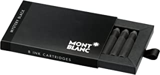 Montblanc Ink Cartridges Mystery Black 105191 – Short International Standard Fountain Pen Refills in Black – 8 Pen Cartridges