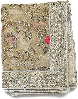 Aditri Creation White Golden Decorative Cloth Pooja Chunari (Size :- 12 Inches x 18 Inches) Chunni Puja Festival Decoratio...