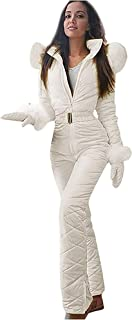 QIQI Combinaison dhiver pour Femmes Combinaison de Ski Combinaison de Sport avec col en Fourrure Combinaison avec Sweats /à Capuche,dor,S Veste et Pantalon de Ski pour Filles