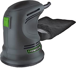 """Genesis GROS2304 5"""" Random Orbit Sander with Rubberized Palm Grip, Hook-and-Loop System, Dust Bag, and Dust-Protected Power Switch"""
