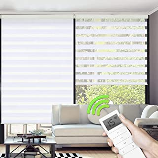 Yoolax Motorized Zebra Shades Free-Stop Cordless Zebra Blinds Rechargeable Dual Layer Sheer with Cassette Valance Window Blinds (White)